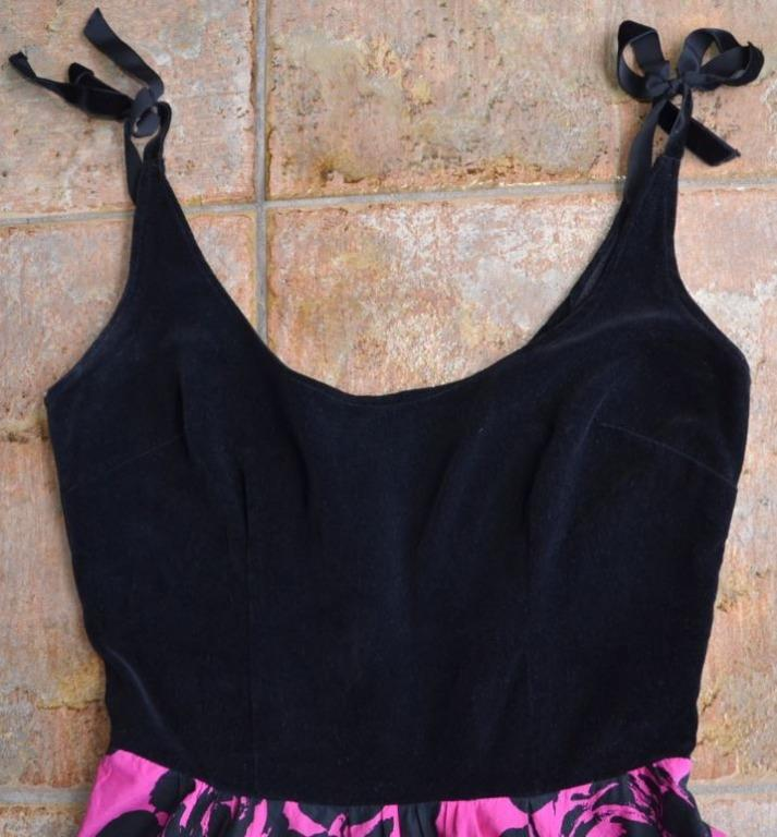 BLACK VELVET & PINK FLORAL ROSE PRINT SHOULDER TIE VINTAGE FORMAL COCKTAIL DRESS 10