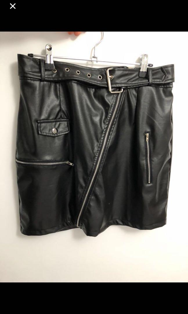 Beginning Boutique Brand New Faux Leather Skirt