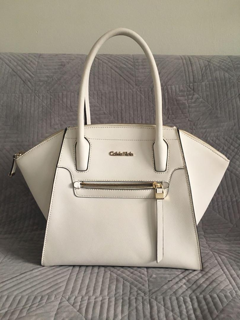 Calvin Klein white saffiano leather satchel or tote