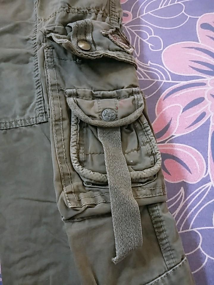Celana pria cargo panjang bahan jeans tebal