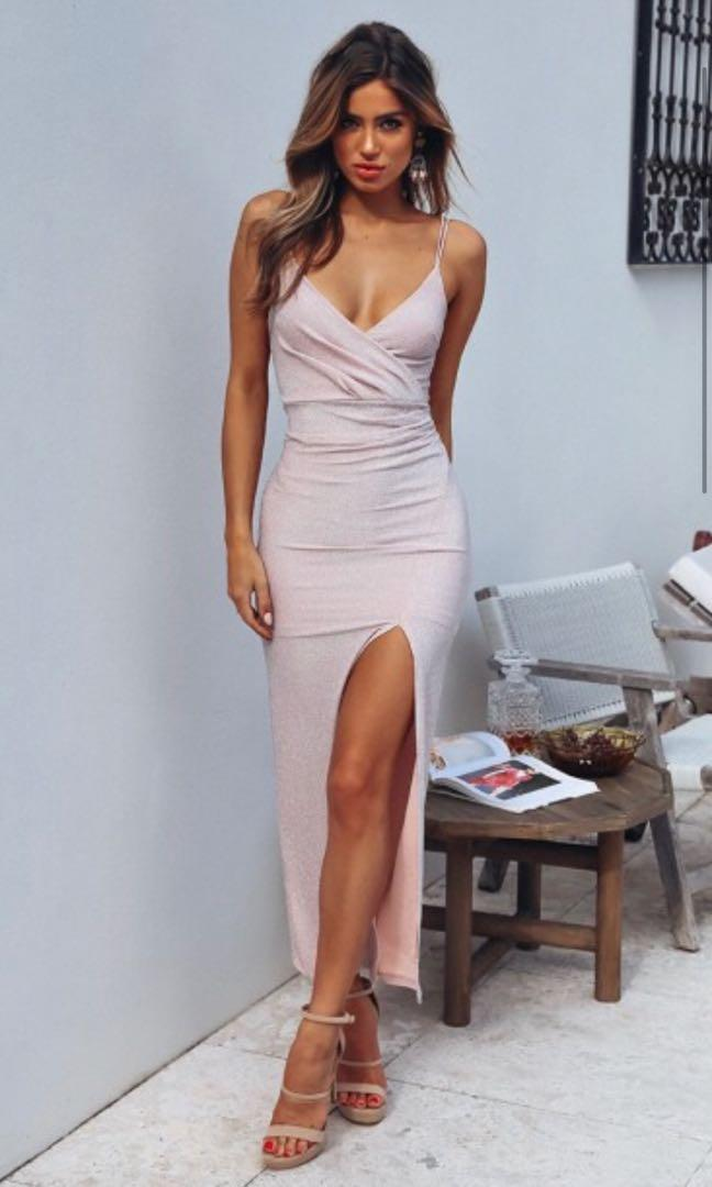 Renting Chiffon Boutique Alexandria Maxi Blush Shimmer Formal Dress