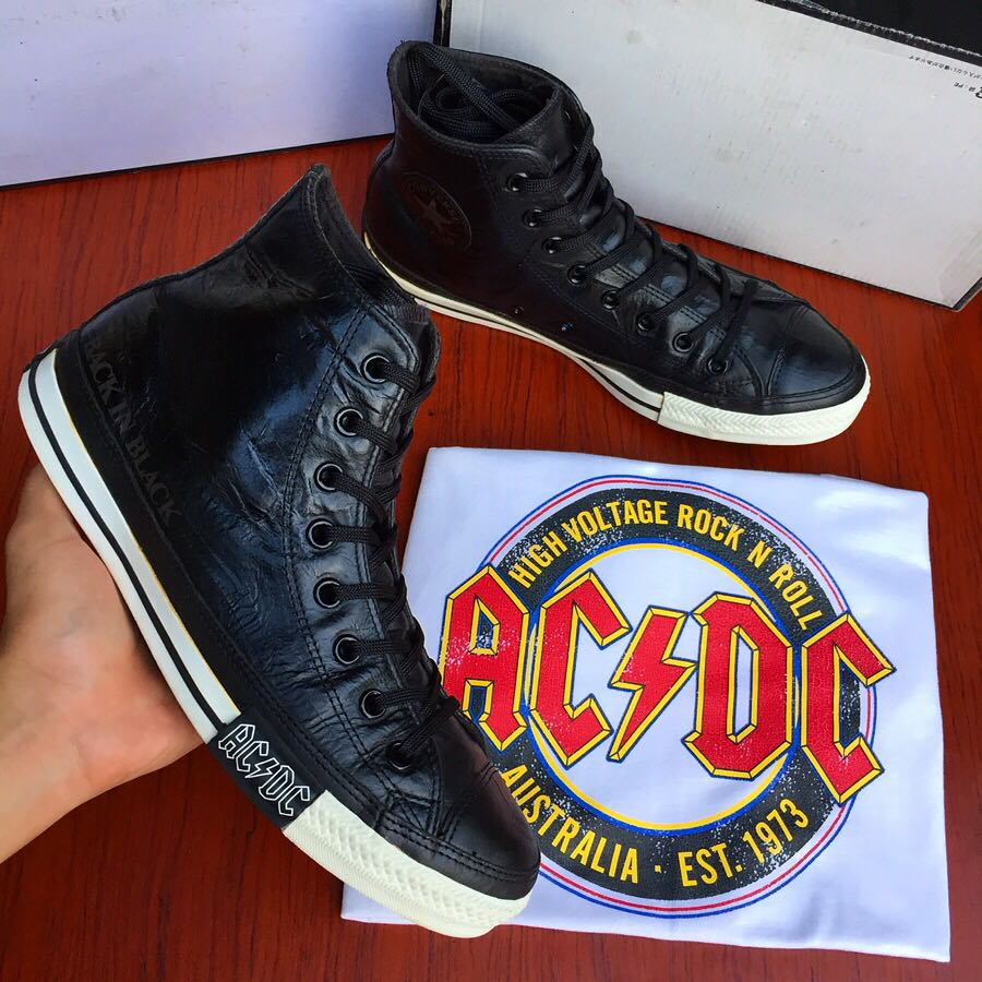 converse ac dc back in black leather