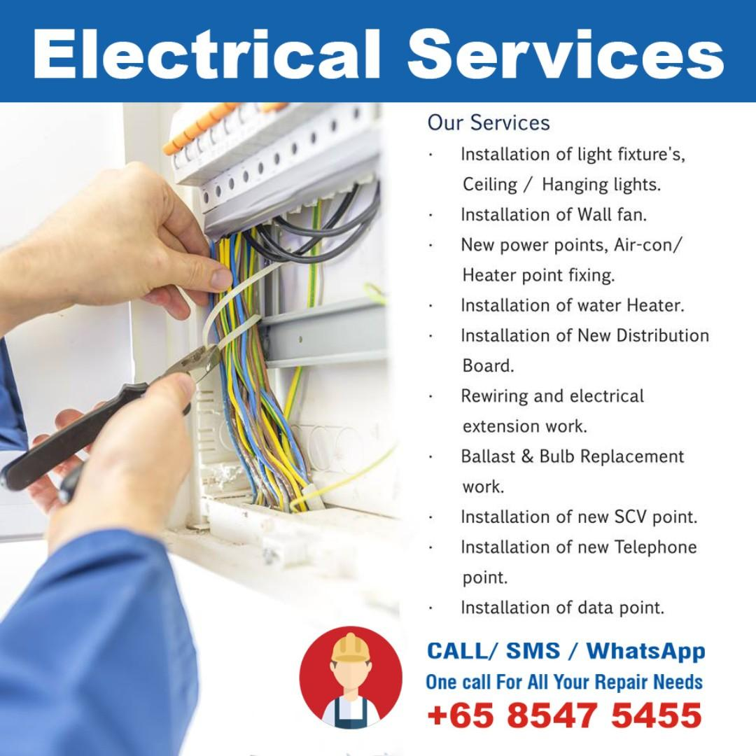 Electrical Services, Lights, Switches, Power Socket, Circuit Breaker
