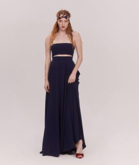 FAME AND PARTNERS navy two-piece formal dress set RENT