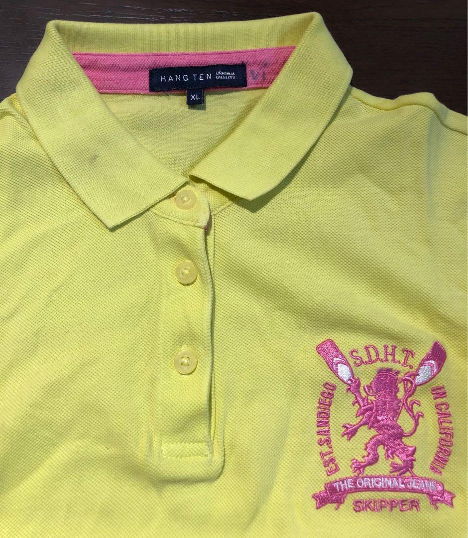 Hang ten, kuning stabilo polo shirt with pink accent