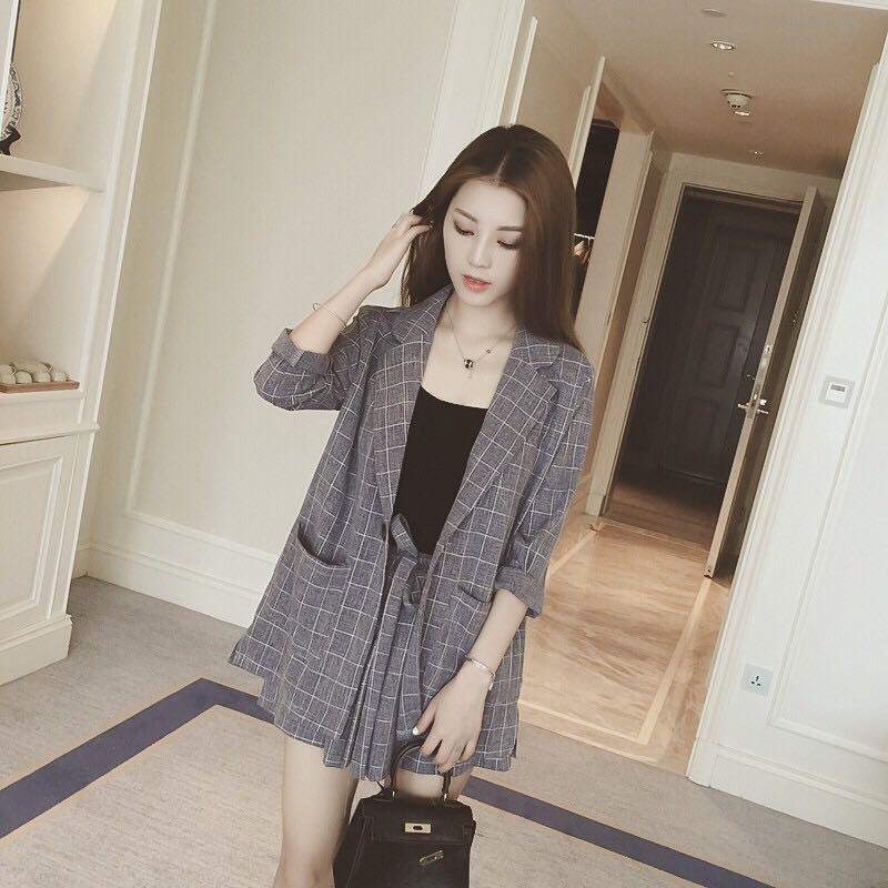 Korean Plain Blazer Set