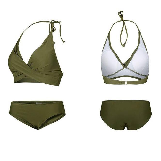 [Ready Stock] Bikini Set Push Up Halter Tie Army Green Swimwear