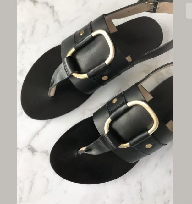 New Country Road abby flats sandals black sz 36/38 RRP $129