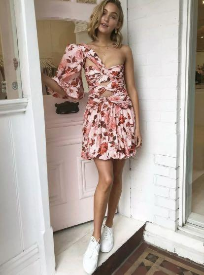NWOT Thurley pink red floral lantern twist knot dress sz 10 -RRP $649
