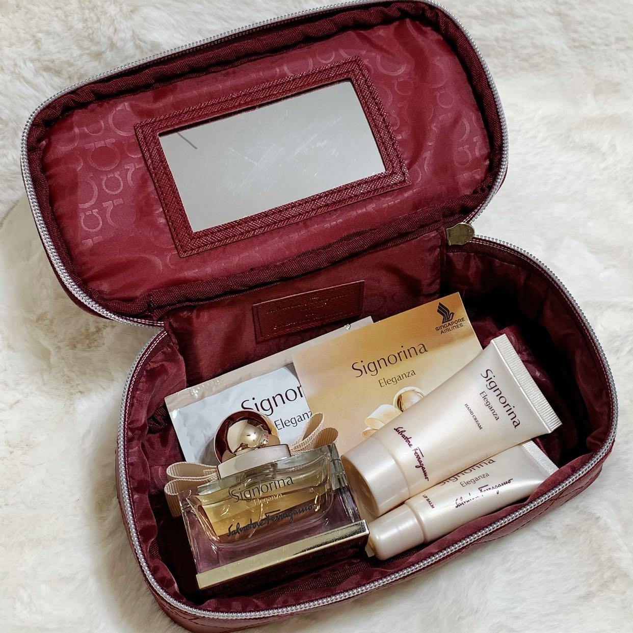 SALVATORE FERRAGAMO ( Authentic Pouch together with 30ml perfume, Hand Cream and Lip Balm) from SINGAPORE AIRLINES