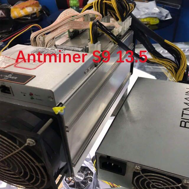 Used AntMiner S9 13.5T with APW3-12-1600W psu Asic Miner 16nm Btc BCH Miner Bitcoin Mining Machine Better Than Whatsminer M3