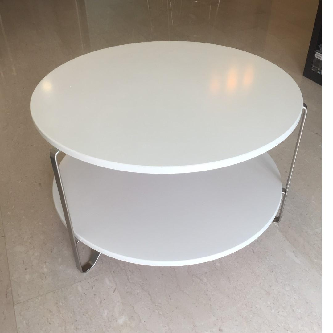 White 2 Tier Round Coffee Table Furniture Tables Chairs On Carousell