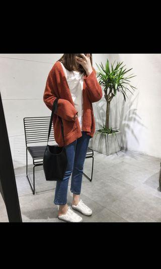 ezbuy shopee maroon and white knit cardigan