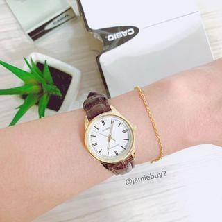 Casio 卡西歐 韓 圓盤手錶 真皮錶帶 棕色