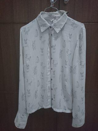 H&M Rabbit White Collar Shirt