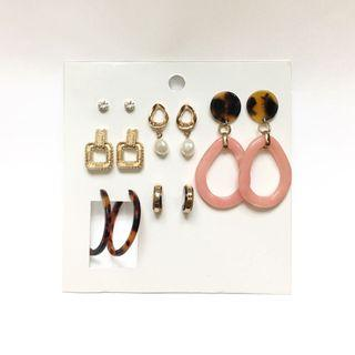 [FREE DELIVERY] H&M 6 Pairs Multicolored Resin Earrings