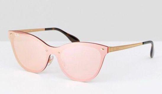 Ray Ban Flat Lens Cateye Sunglasses in Pink with Flash Lens