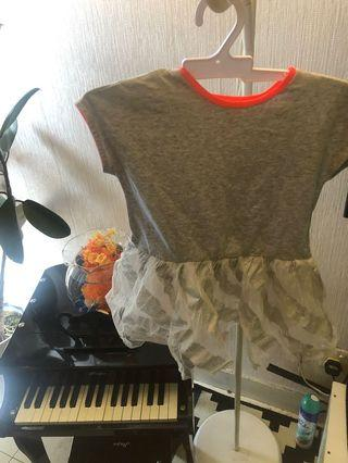 Tshirt with glittery tutu skirt attached