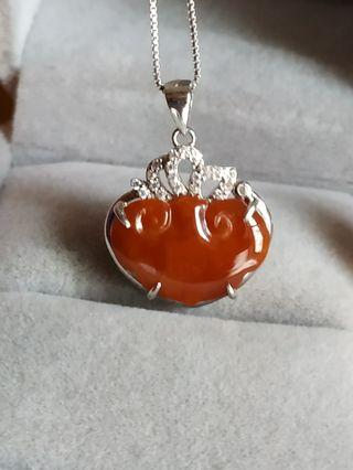 緬甸玉保A  心型紅翡925銀墬+鏈