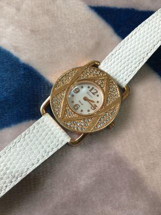 Savina香港專櫃玫瑰金色亮鑽手錶