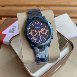 Fossil Original ES4093 Perfect Boyfriend Navy Blue Dial Ladies Watch ES4093