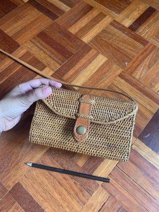 Bali rattan sling bag