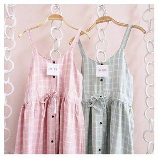 Overall pink wearedollies motif tartan