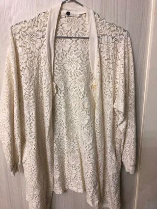 氣質 棉蕾絲罩衫。只穿一次