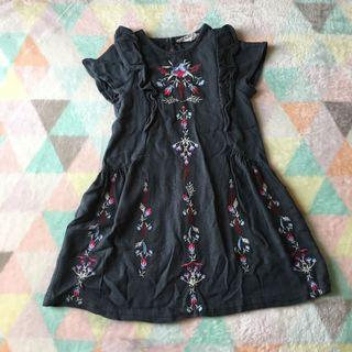 ZARA Charcoal Embroidered Dress