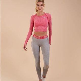 Authentic Gymshark Flex Leggings Light Grey Marl / Sherbet Pink XS