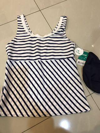思薇爾 泳衣 兩件式 藍白線條 上衣 褲子 帽子 L號可穿