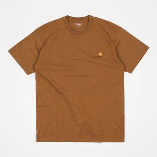Carhartt WIP American script t-shirt in hamilton brown 短袖上衣 大地色 xs號