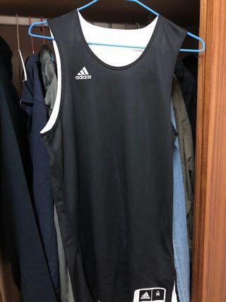 Adidas 雙面籃球衣 黑白 size M  99%new