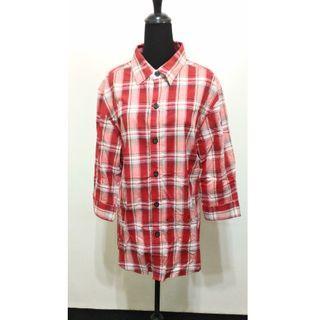 全新~ 嘻哈品牌 AMG ( AMBIGOUS ) 紅\色 七分袖 襯衫 ~XL ~