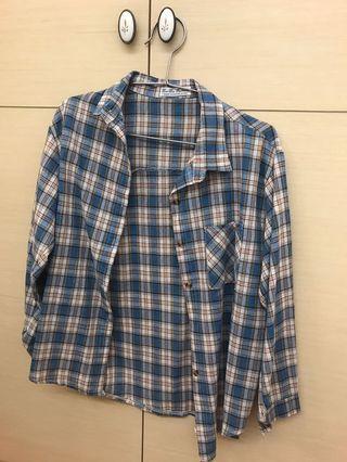 文青格子襯衫
