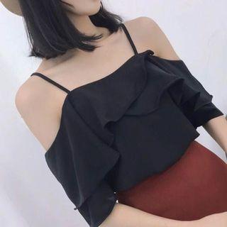instock - black ruffled off shoulder top
