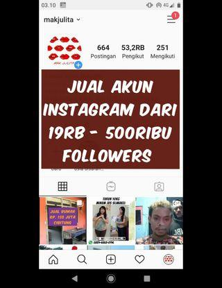 Jual banyak akun Instagram 19ribu - 500ribu followers