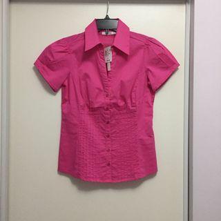 Pink Short Sleeve Button Down Shirt (Size 2)