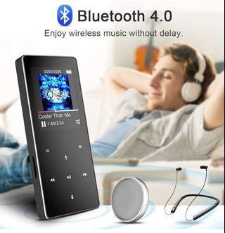 Premium MP3 Player With Bluetooth 4.0 /16GB storage and Cool Design with Multi-Function, HiFi Sound Touch Button MP3 Music Player Support FM Radio Voice Recorder E-book, Expandable Up to 128 GB, B05ST Grey