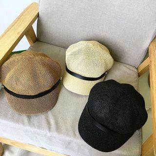 正韓米白杏色皮革編織 草編 報童帽 草帽 遮陽帽