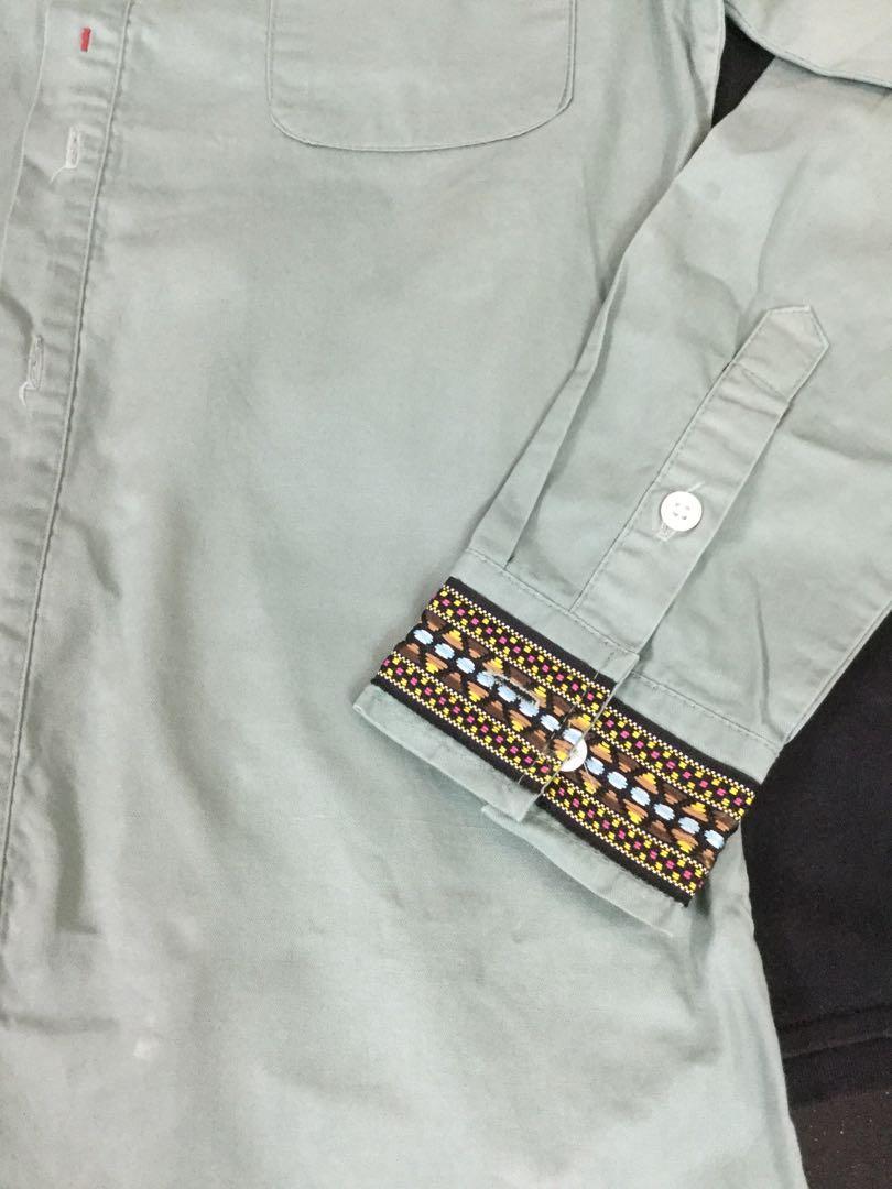 二手襯衫-墨綠色、民族風、刺繡男裝襯衫