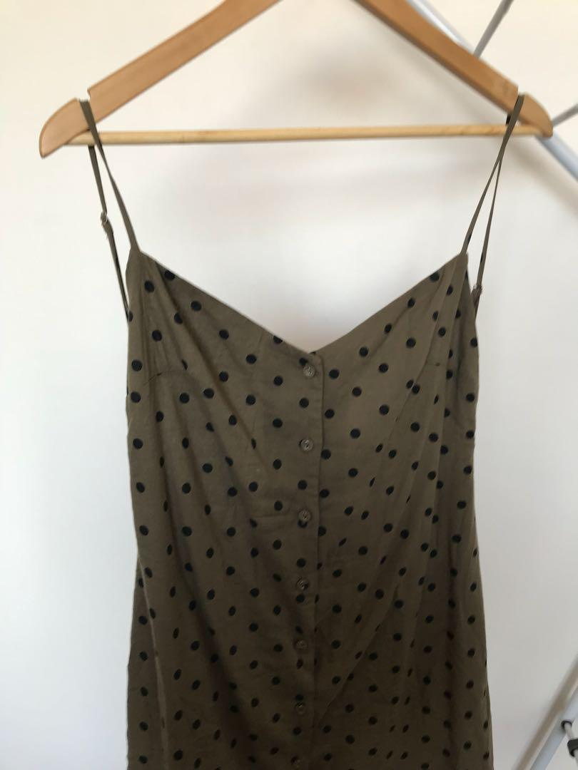 Alice in the Eve Mini Linen Backless Green/Black Polka Dot Dress