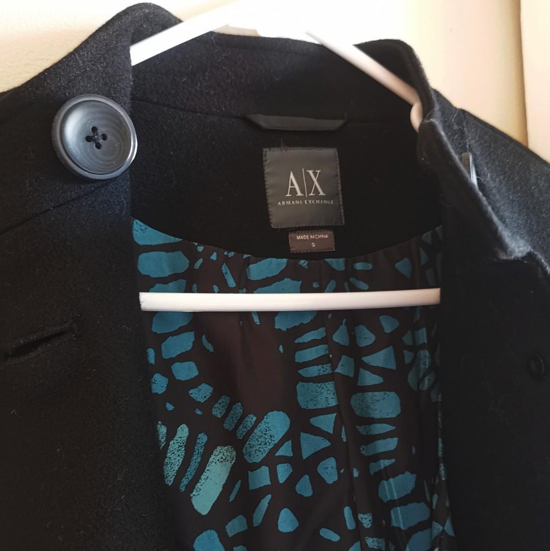 Armani Exchange Black Wool Coat Size S (AU6-8)
