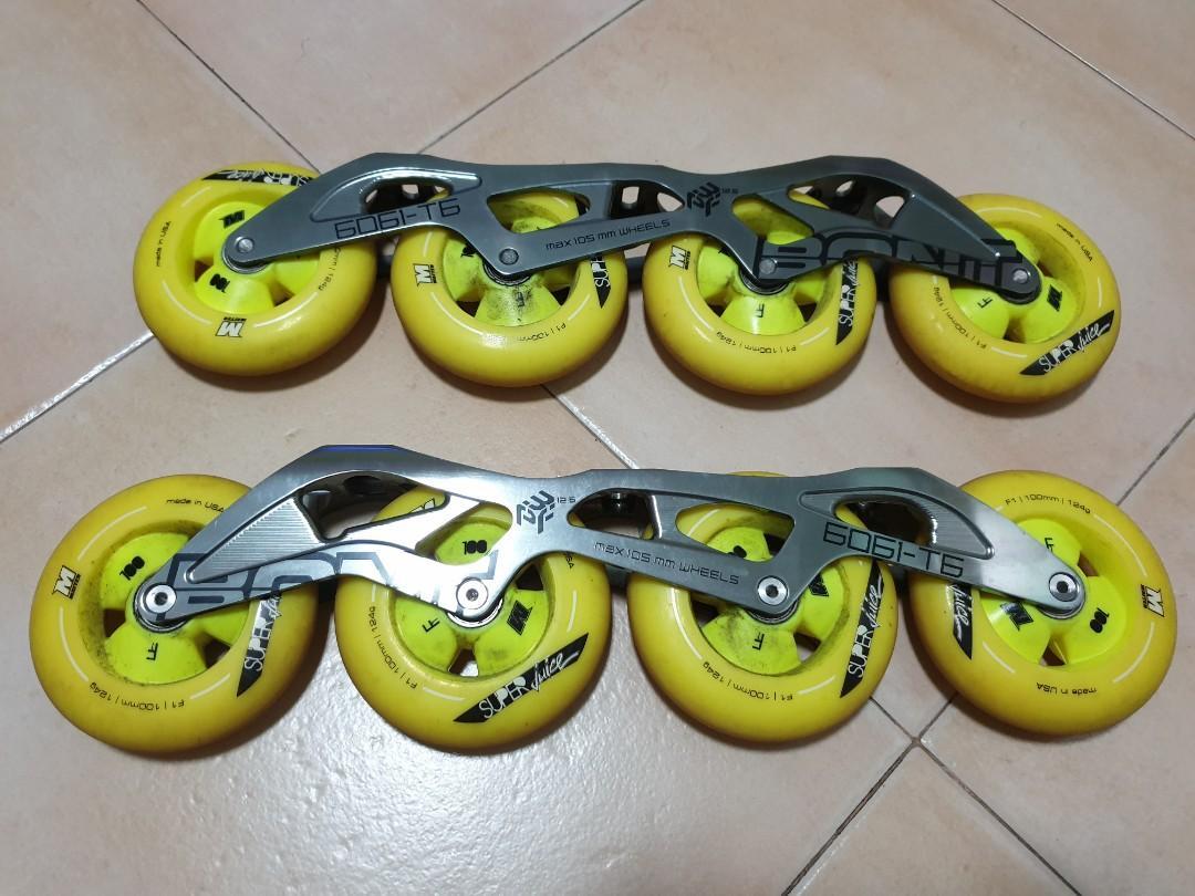 Bont 3PF speed skate frame with 4 x 100mm Matter Juice F1 wheels