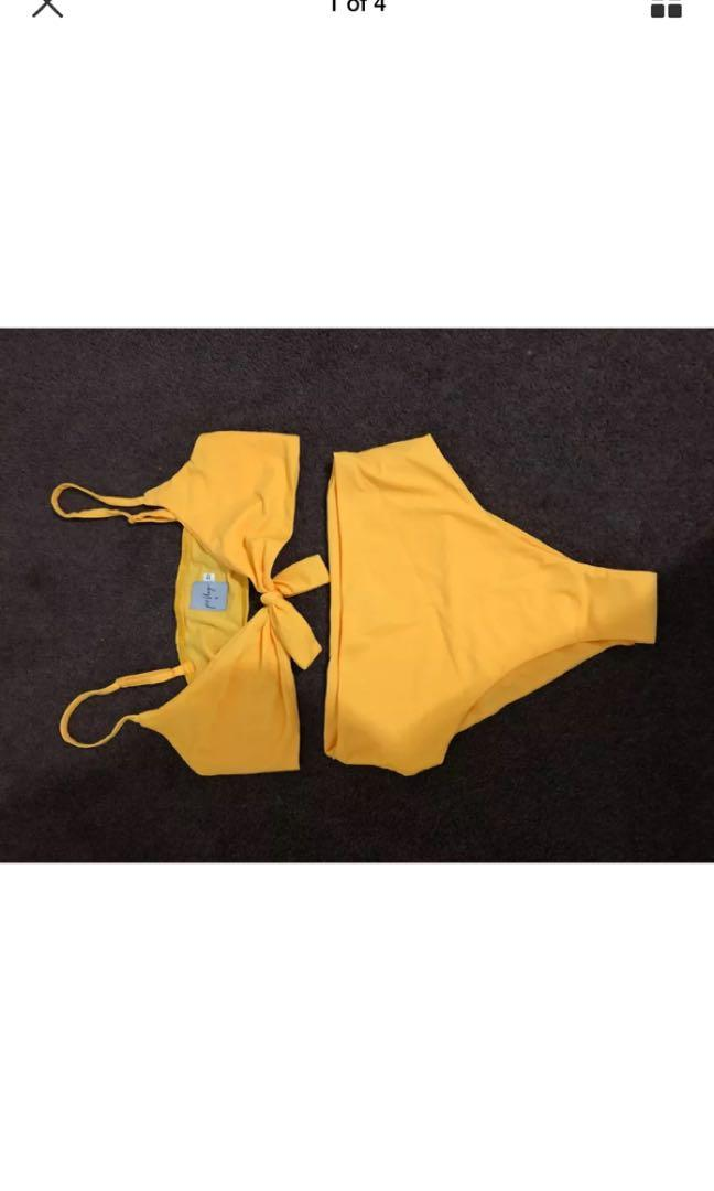 Bottoms only Princess polly bikini set Brand New size 10 Yellow high waisted