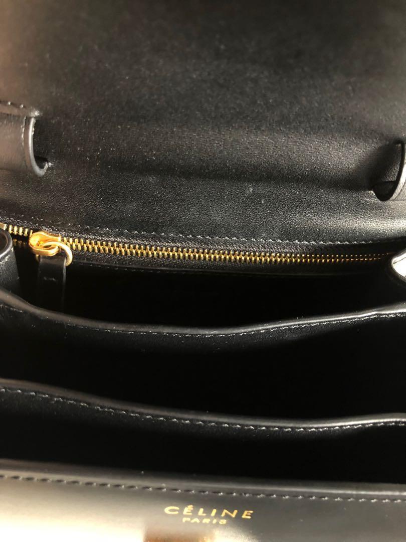 Celine classic box handbag small authentic in black