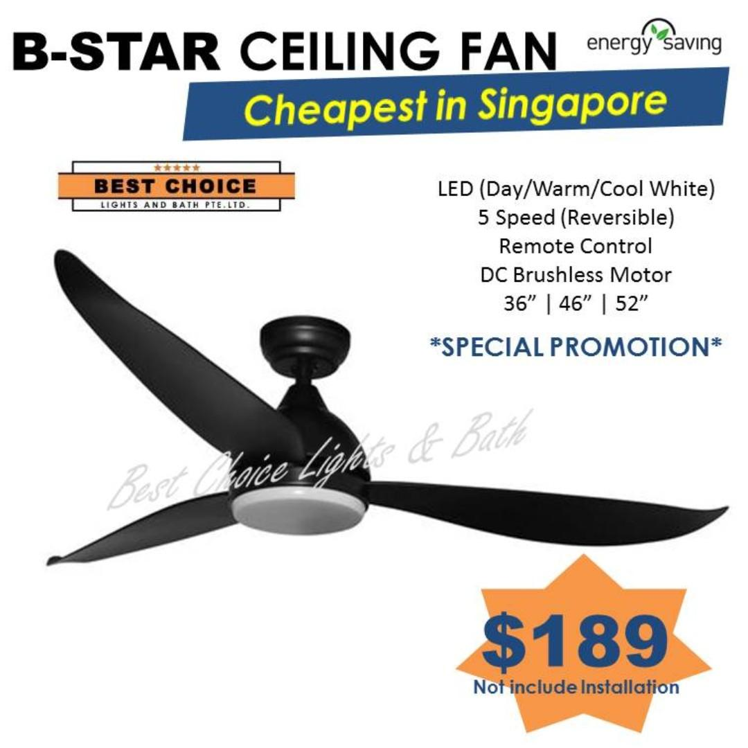"""Fanco B-Star DC motor ceiling fan 36"""" 46"""" 52"""""""