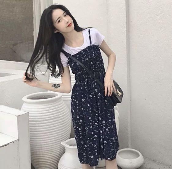 Floral Midi Dress in Navy Blue