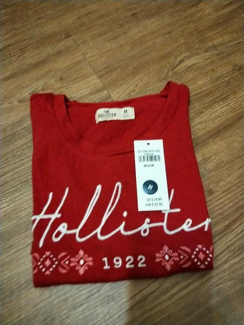 Hollister 紅色弧狀上衣