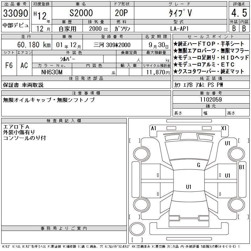 HONDA S2000 TYPE V AP1